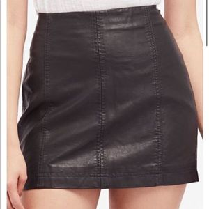 Free People Black Modern Femme Leather Skirt